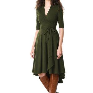 High-Low Hem Cotton Knit Wrap Dress